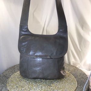 Gray Hobo Crossbody flap over front soft leather.